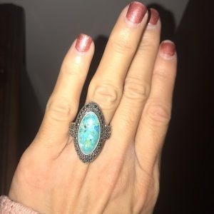 Lucky brand turquoise and silver statement ring